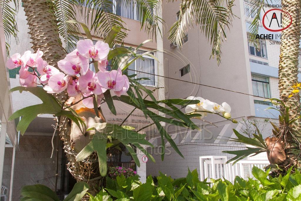 apartamento em santos, no boqueirão, edificio jardim europa, frente praia, excelente localização, portaria 24hs, 1 vaga...