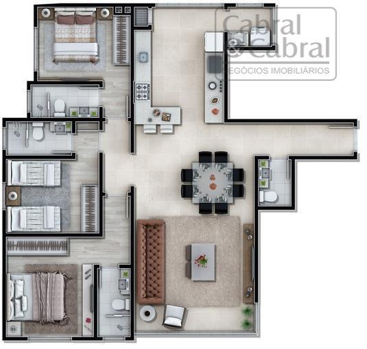 apartamentos com linda vista para o mar, com 03 suítes, sala de estar e jantar integradas,...