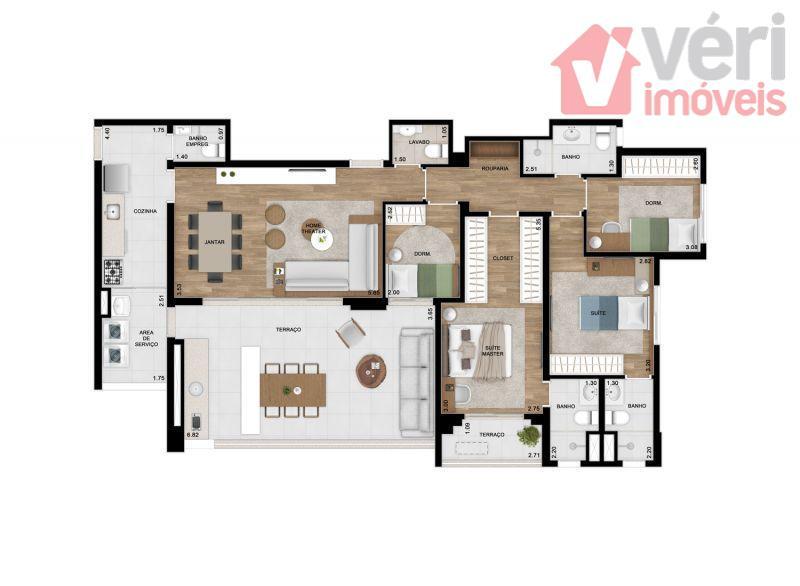 136m com 4 Dorms e 2 suites