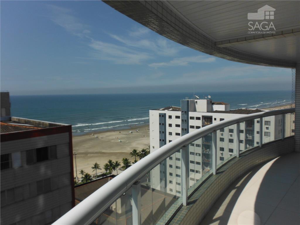 Apartamento residencial à venda, 3 suites, lavabo, lazer completo vista para o mar, Campo da Aviação, Praia Grande - AP0840.