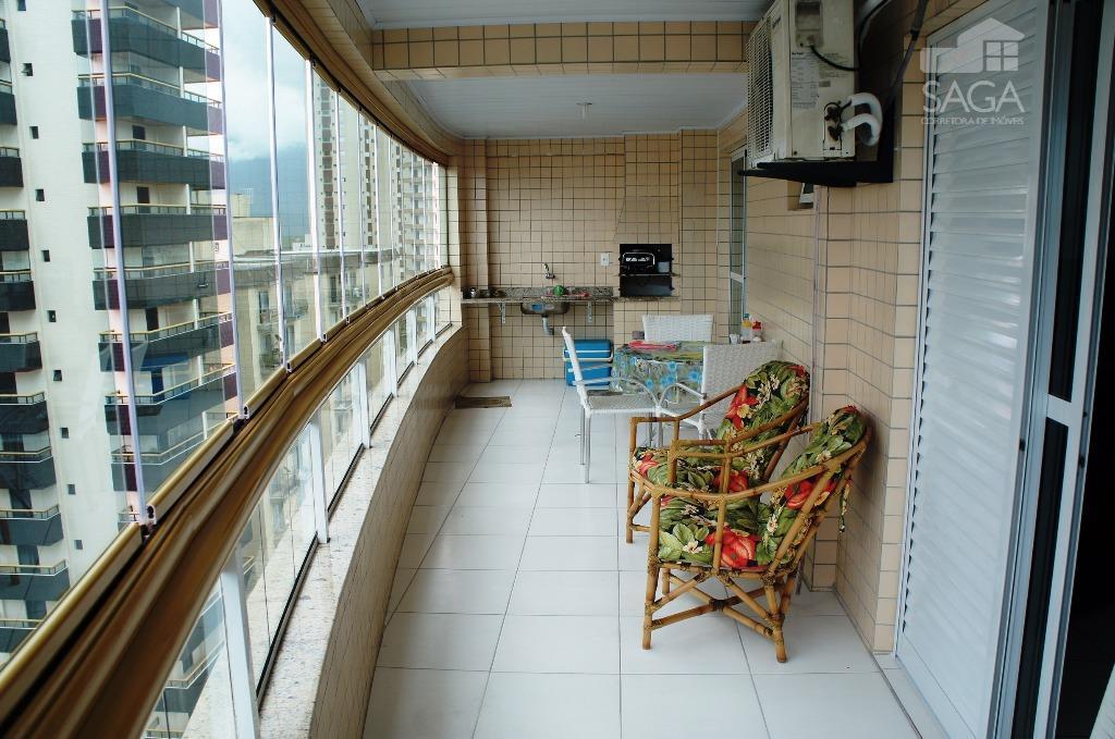 Apartamento  residencial à venda, 3 Dormitórios, 2 Suítes, Varanda Gourmet, 122M², Piscina, Vila Caiçara, Praia Grande.