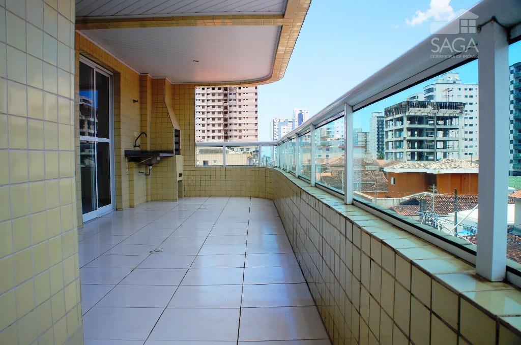 Apartamento  Residencial para Locação, 89m², Varanda Gourmet, 2 Dormitórios, 1 Suíte, Piscina, Vila Guilhermina, Praia Grande.