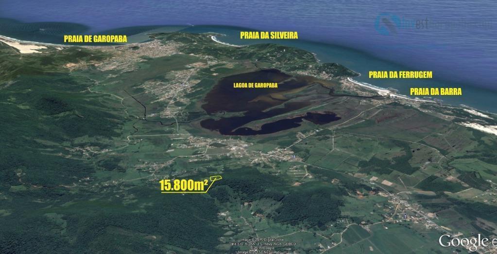 15.800m² - registro de imóveis lindo terreno com belíssimas vistas para toda a cidade de garopaba,...