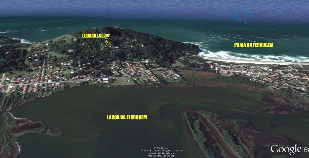 lindo terreno localizado na praia da ferrugem, com belíssima vista para a praia e para a...