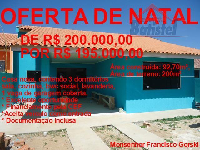 Casa à venda, Conjunto Habitacional Monsenhor Francisco Gorski, Campo Largo.