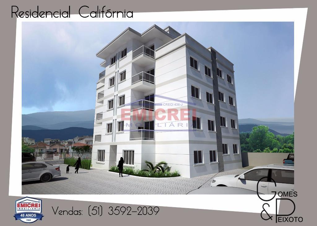 Apartamento 2 dormitórios, sacada, churrasqueira, box 1 carro, porcelanato, massa corrida, bairro Independência, São Leopoldo.