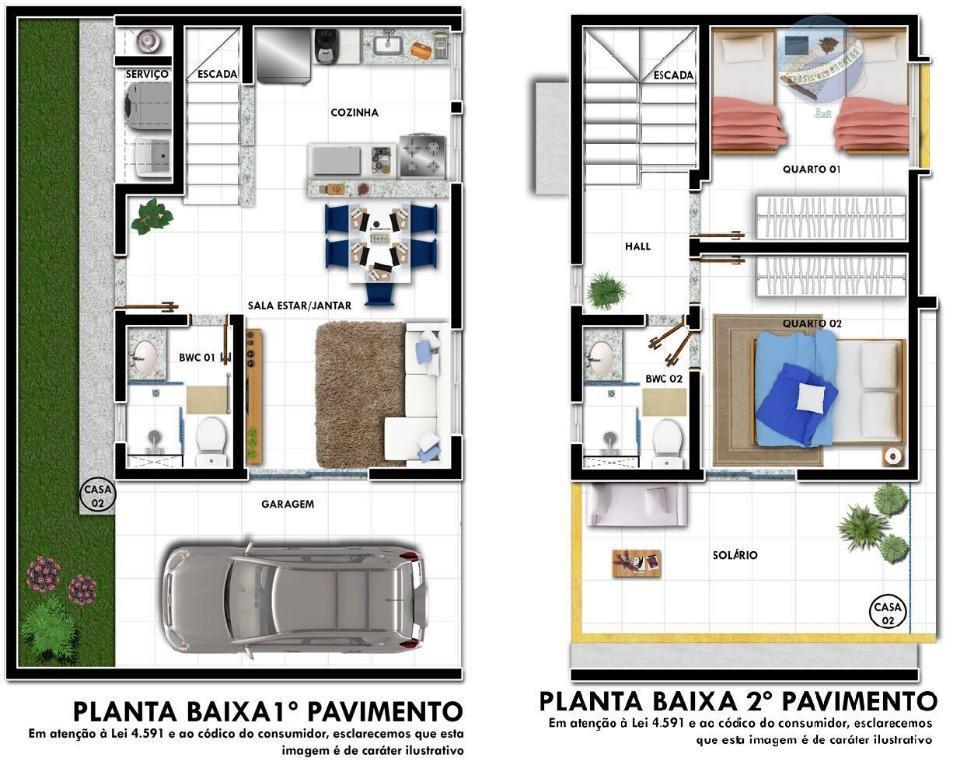 Amado Casa duplex com 2 quartos e solarium, pertinho da Maria Lacerda  HU66