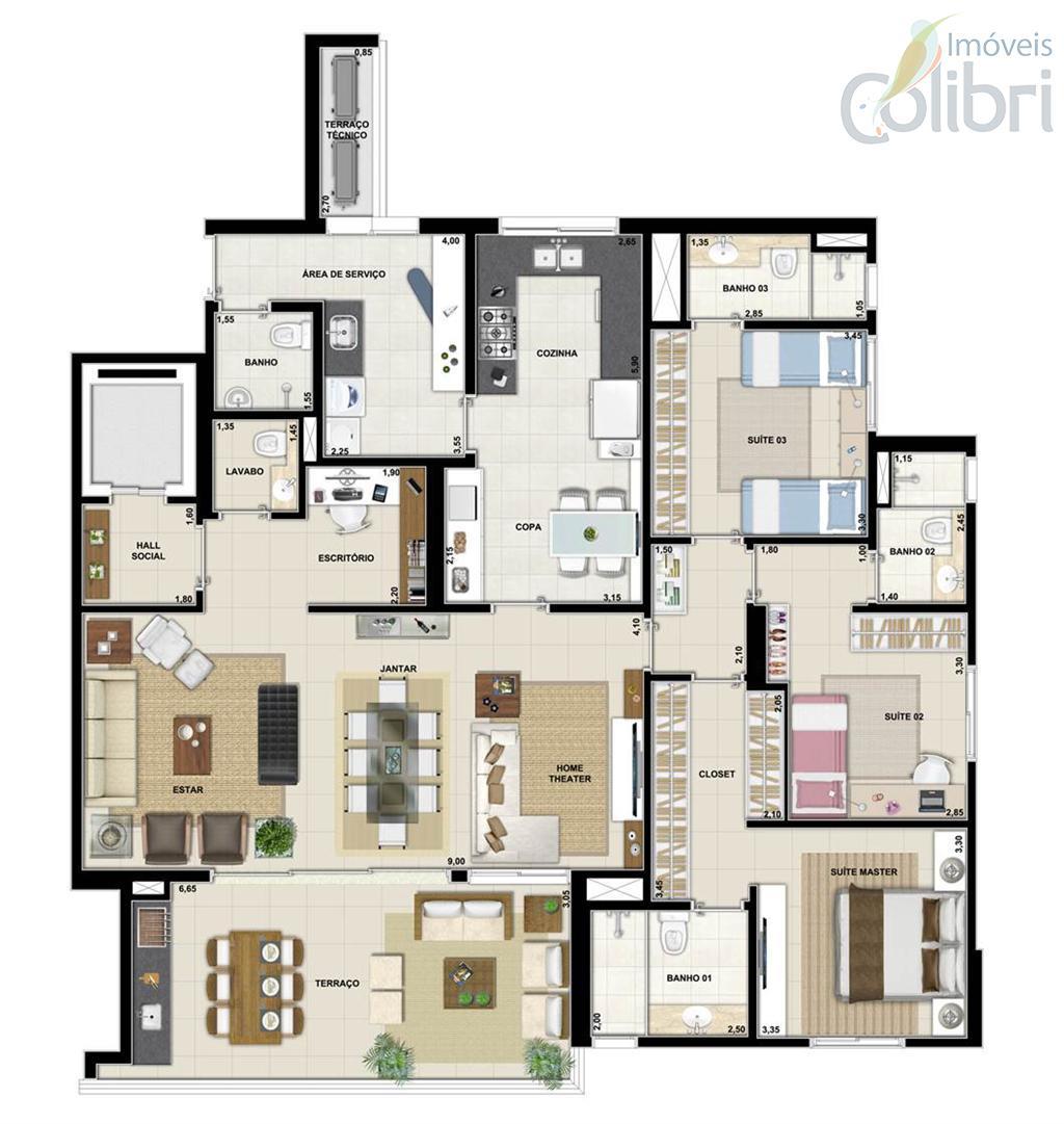 Planta baixa - Tipo 183,85 m²