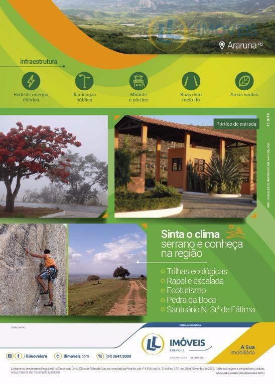 loteamento vale da serra em ararauna/pb!!!lotes com tamanhos a partir de 600 m² e parcelas a...