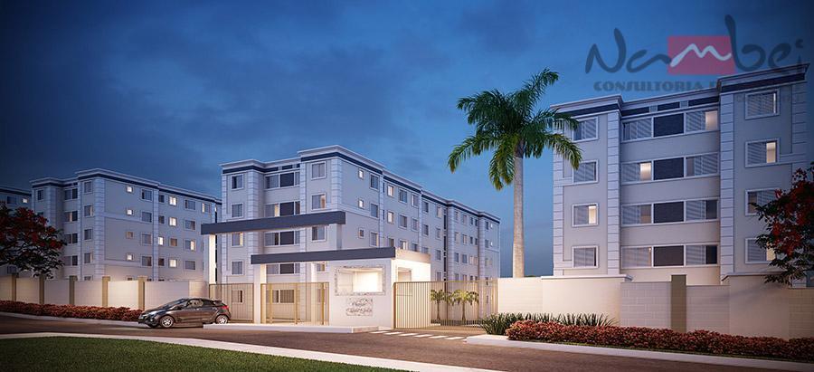 apartamento com 02 dormitórios, sala, cozinha, wc, área de serviço e 01 vaga de garagem.próximo a...