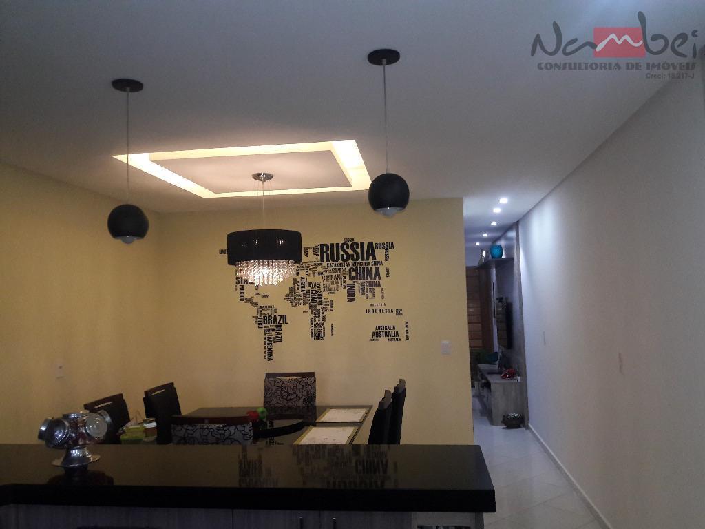 lindíssimo sobrado frontal 3 dormitórios, sendo 01 suíte c/ móveis planejados, sala 02 ambientes, cozinha c/...