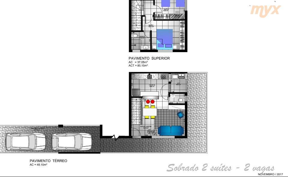 marapé - sobrado - em construção com previsão de entrega para abril/2018 * 2 dormitórios sendo...