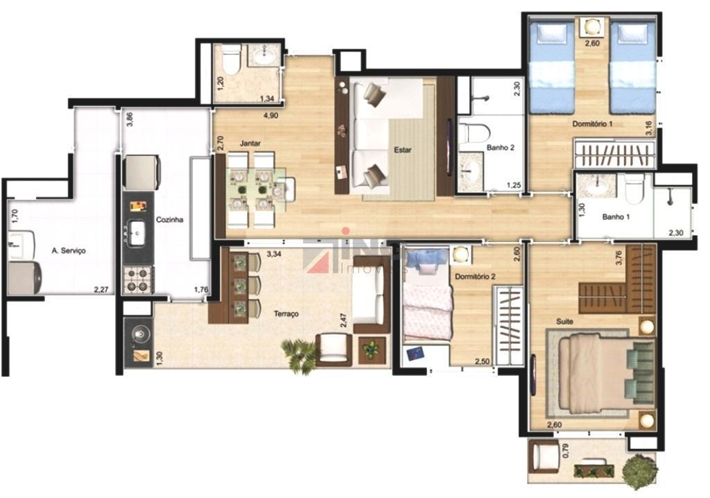 oportunidade na rua cayowaá, em perdizes.imóvel impecável, novo. 90 m² de área útil; sala com varanda...