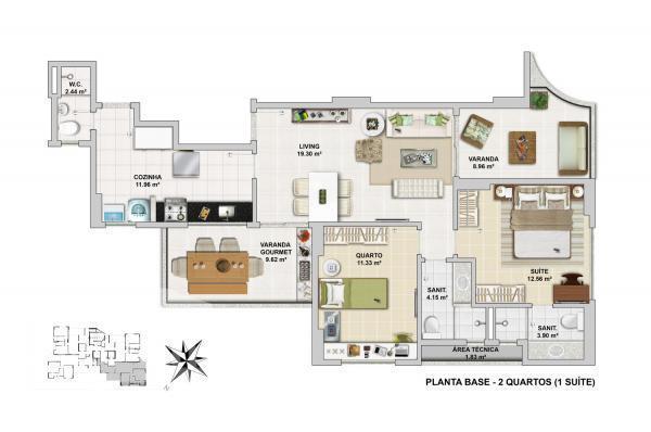 destaques do empreendimento:fachada 100% pastilhada2/4 alto padrão (4 apartamentos por andar)porcelanato no living e varandavaranda gourmet...