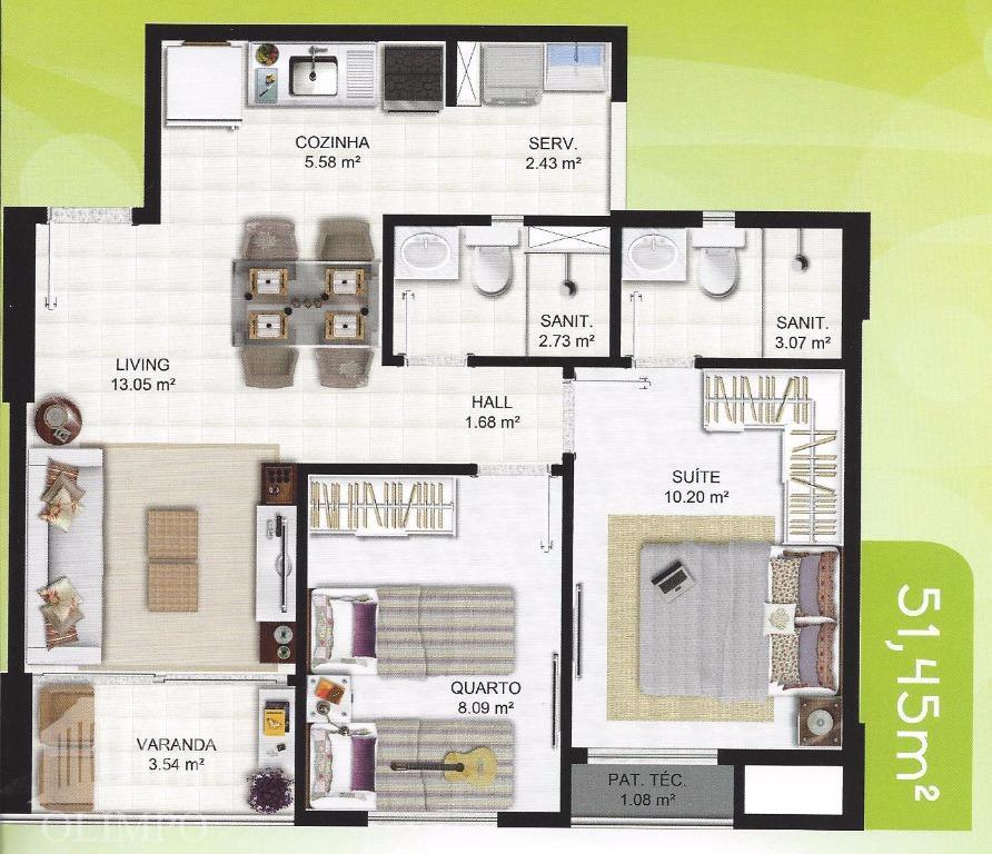 metragem:52 m²número de dormitórios:2número de suíte:1número de banheiros:1posição do sol:nascentenúmero de elevadores:4vaga de garagem:1estrutura de segurança:portaria...