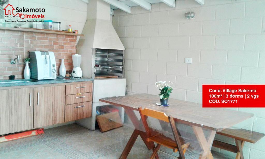 Sobrado residencial à venda, Condomínio Village Salermo, Sorocaba.