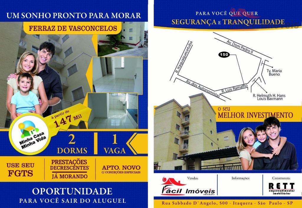 Apartamento residencial à venda, Vila Cristina, Ferraz de Vasconcelos - AP0251.