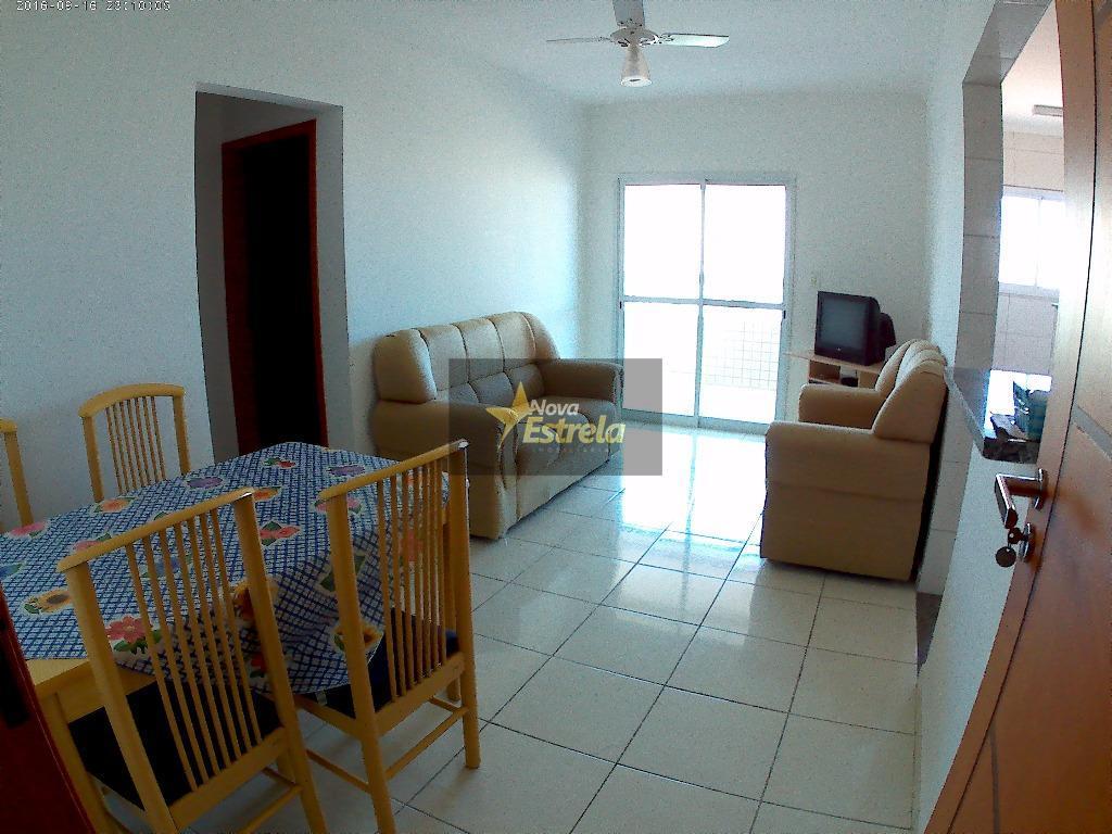 Apartamento  1 dormitório sacada com churrasqueira, Campo da Aviação, Praia Grande.