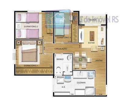 excelente apartamento com 03 dormitórios,semi-mobiliado,sala,cozinha,banheiro,área de serviço,01 vaga de garagem,total infra,piscina,salão de festas,espaço kids,quadra de esportes,portaria...