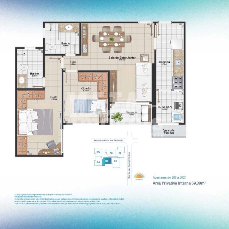 excelente apartamento com 3 quartos sendo 2 suíte, 2 w.c, cozinha, w.c. de empregada, área de...