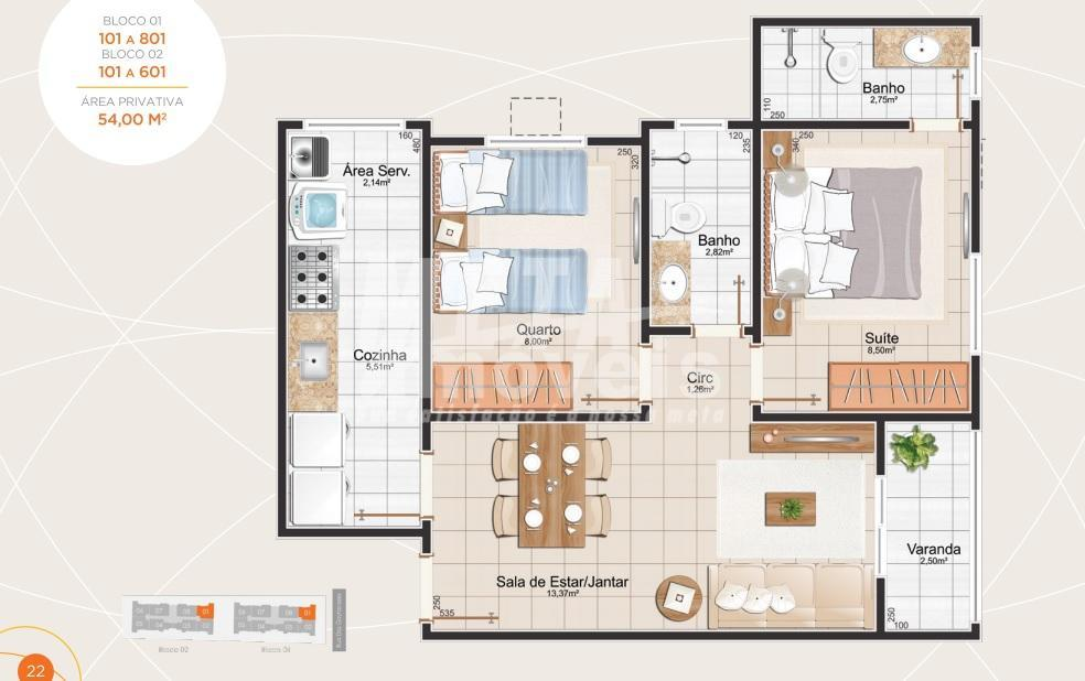 apartamento de 2 qts com suíte, sala, varanda, cozinha, banheiro social, área de serviço, 1 vaga...