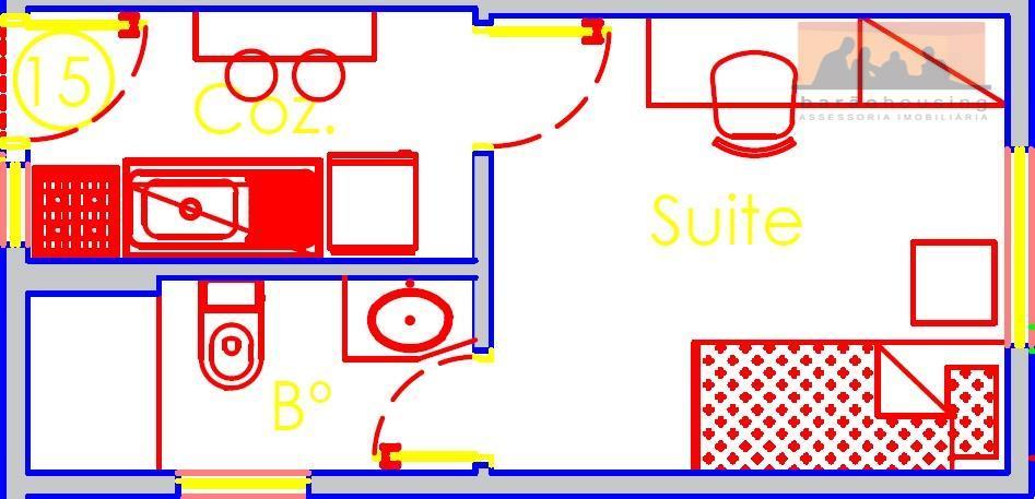 kitnet mobiliada com divisória, ar condicionado, 1ª Locação