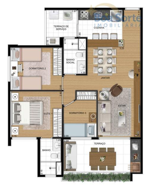 apartamento de 3 dormitários sendo 1 suíte, com 2 vagas com direito a 1 depósito privativo,...