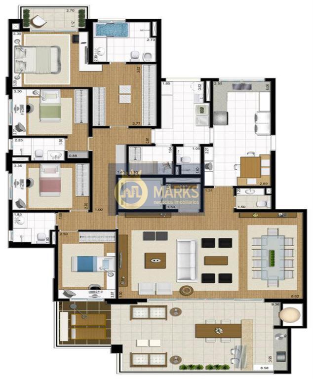 padrão cyrela, alta padrão com varanda gourmet com churrasqueira e forno de pizza213m living para 3...
