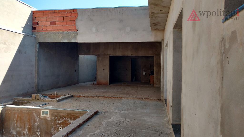 jardim flamboyant - moderno projeto arquitetônico de casa térrea, com pé direito duplo na sala, 3...
