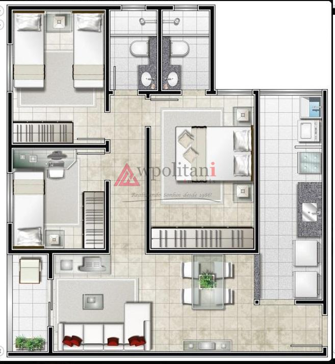 apartamento com 3 dormitórios sendo 1 suíte, 2 garagens, 2 banheiros com box, sala, cozinha, frente...