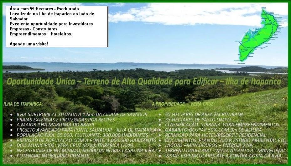 55 Hectares Vista mar - Para Edificar - Ilha de Itaparica