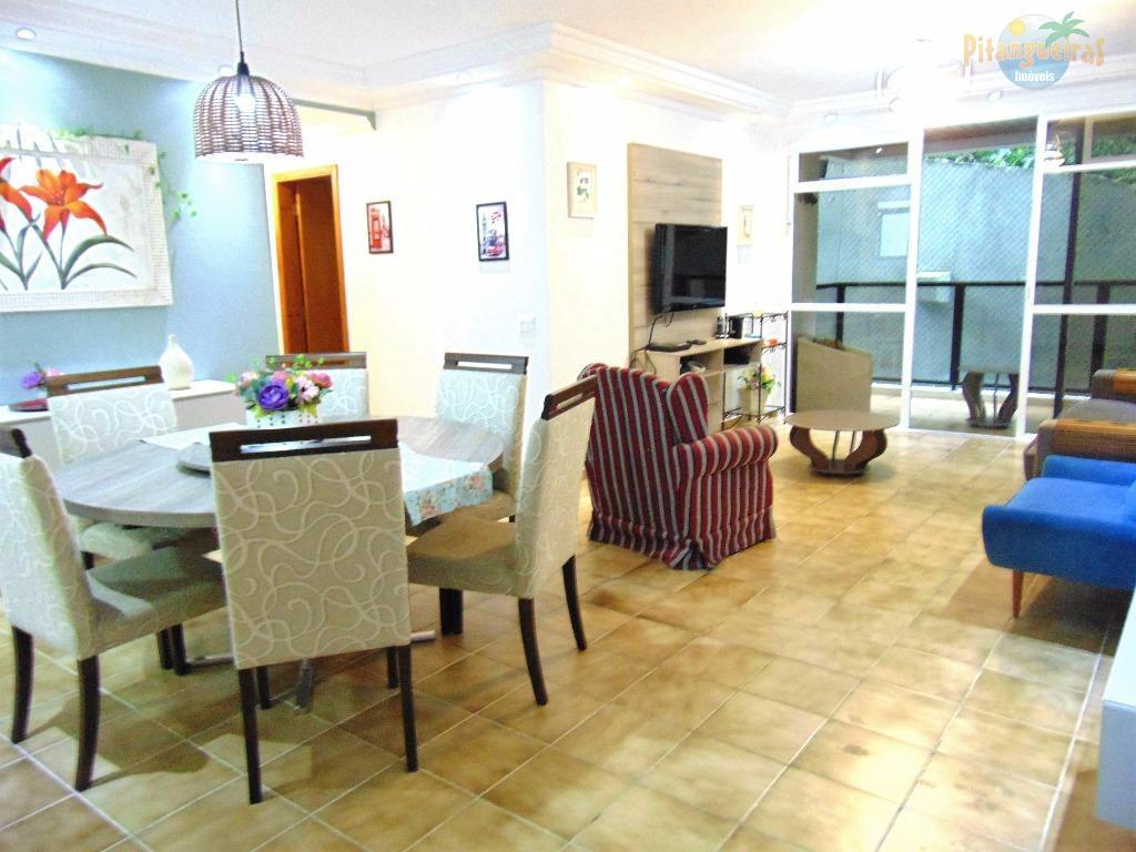 Pitangueiras - Uma quadra do mar, ampla área de lazer, 140 m² úteis e 2 vagas.