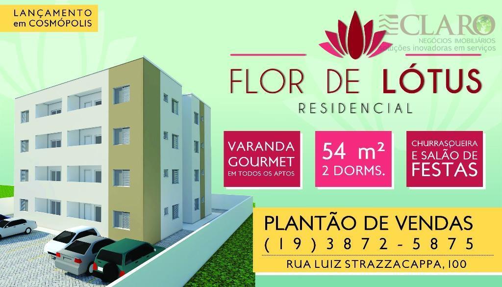 Apartamento  residencial à venda, Residencial Flor de Lótus, Cosmópolis.