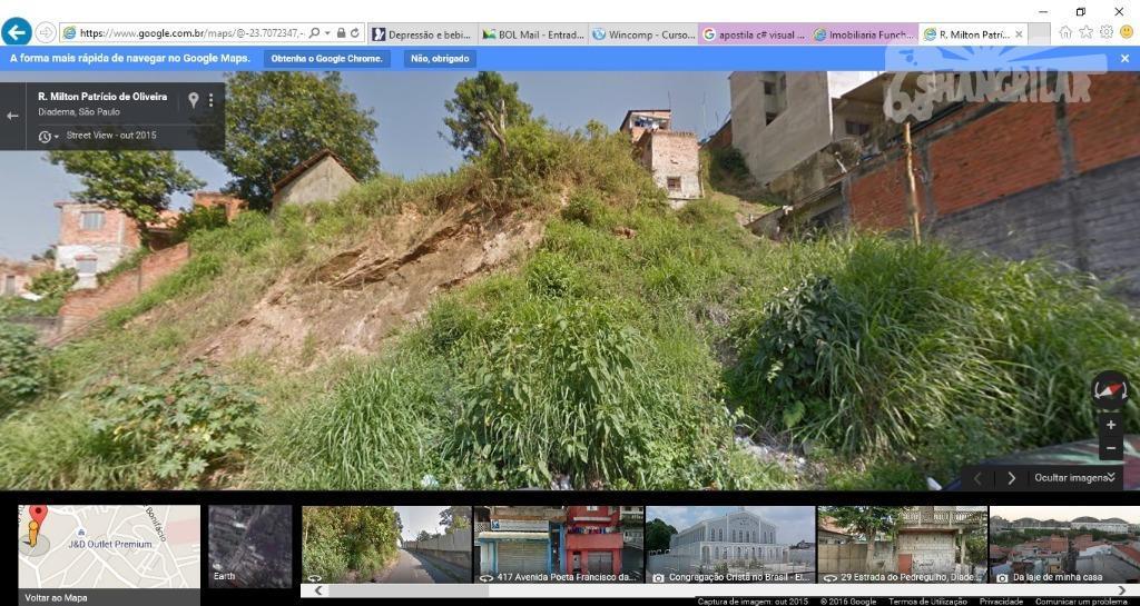 02 terrenos conjugados de 5,00 x 50,00 cada, totalizando 500,00 m²com aclive acentuado, em diadema, jardim...