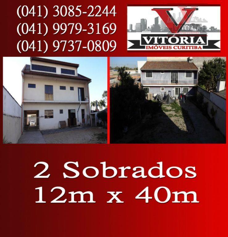 Imobiliária Curitiba - 2 Sobrados / terreno 12 x 40 à venda, Uberaba - SO0103.