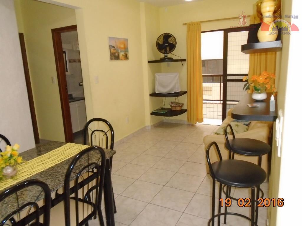 Apartamento 1 dormitório, mobiliado, na 1° quadra da Praia, Guilhermina, Praia Grande.