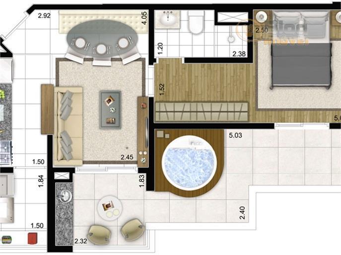 Apartamento Cobertura à venda, 1 dorm, 1 vaga, Consolação