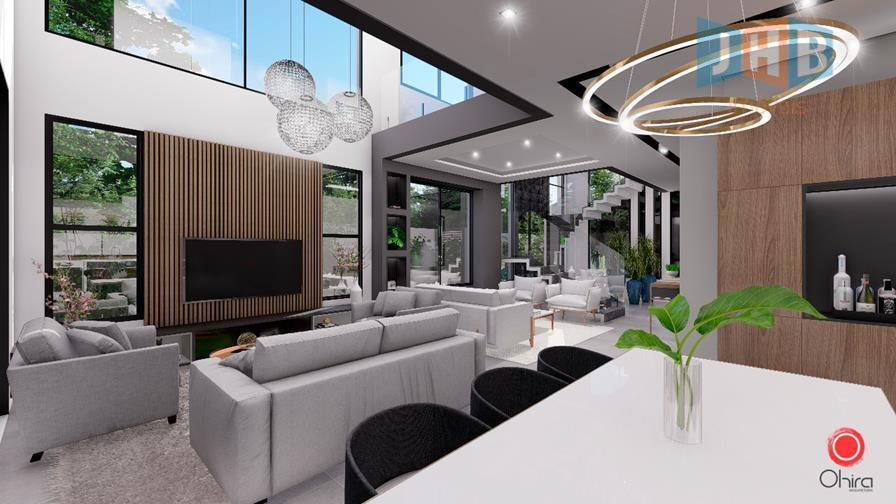 4 suítes sendo 1 closet e 1 hidro, sala 3 ambientes, escritório, lavabo, wc social, copa,...