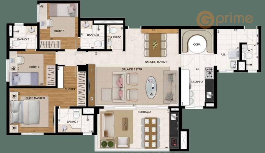 Apto Novo 122 m² - 3 suítes – 2 vagas – Aceita Permuta – Cidade Maia