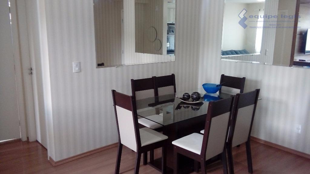 apartamento com 2 dormitórios, sala, cozinha, banheiro, área de serviço, sacada, 1 vaga de garagem, móveis...