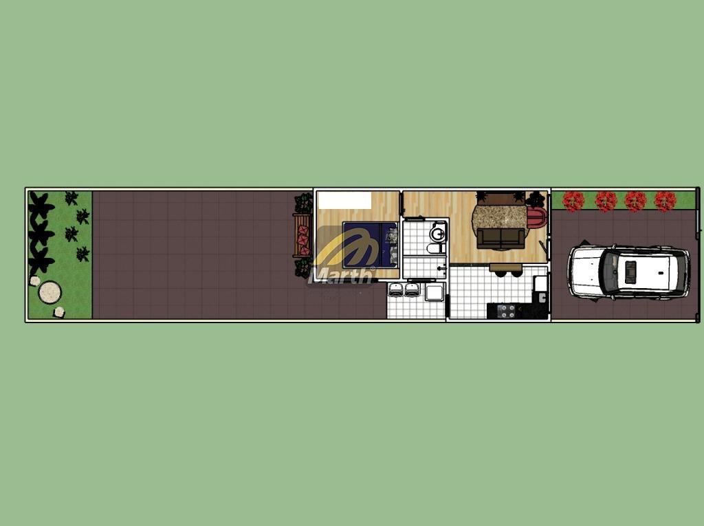 casa com 1 dormitório (com possibilidade do segundo dormitório), sala, banheiro social, cozinha, lavanderia, 2 vagas...