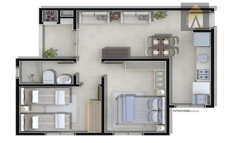 02 dormitórios, sala, banheiro social, copa, cozinha, área de serviço, 01 vaga de garagem