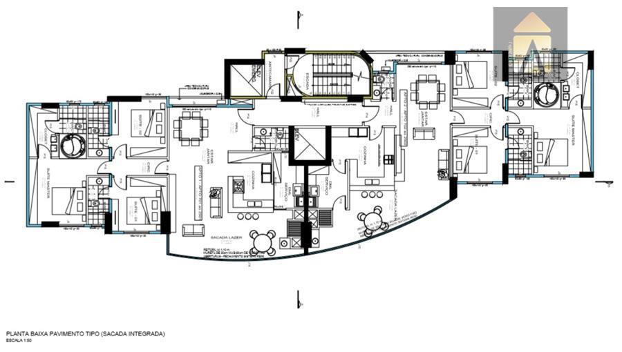 o edifício possui 47 unidades sendo 40 apartamentos com 03 suítes cada, e 07 salas comerciais.área...