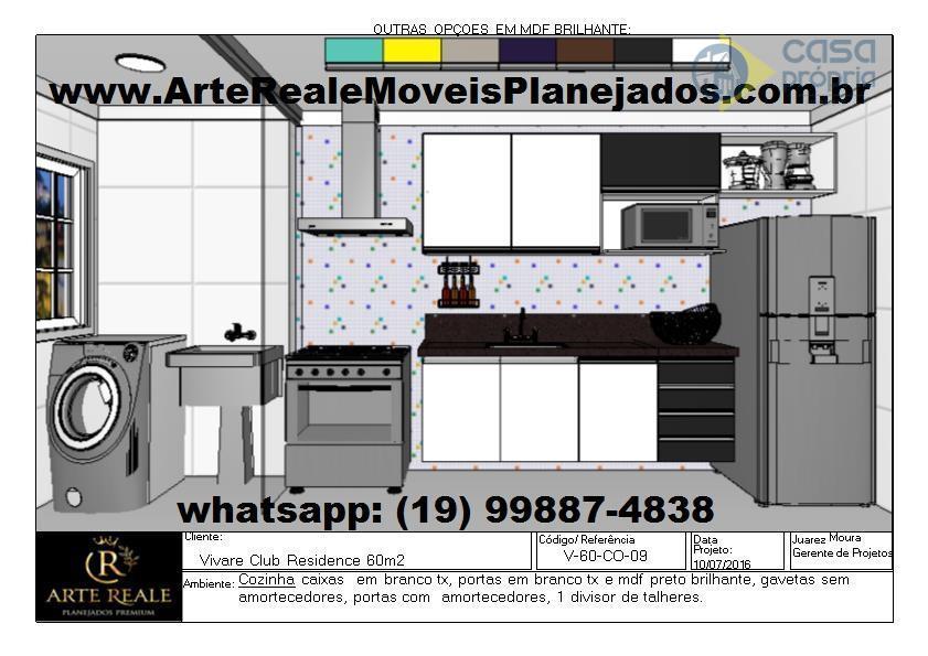Apartamento Novo, Locação, 2 Dormitórios (1 Suíte), 60m2, 2 Vagas Garagens, Rico em Armarios Planejados, Paulínia, SP