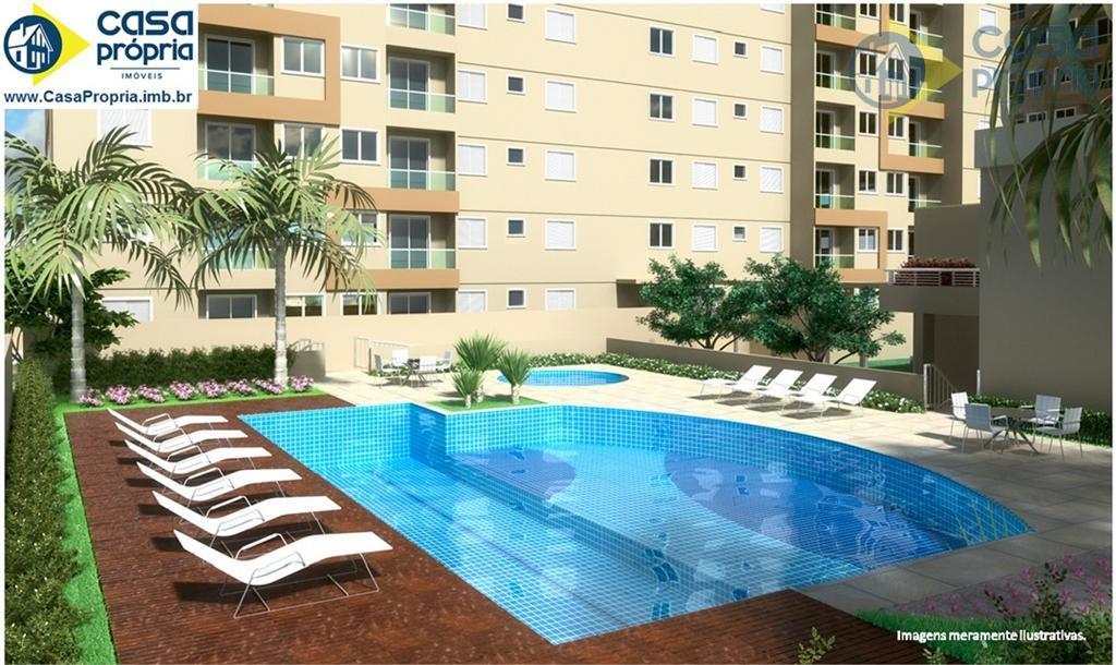 Apartamento 2 Dormitórios (1 Suíte), com 60m2, 2 Vaga no Subsolo, Elevador, Sacada, Piscina, Perto do Teatro, Paulinia, SP