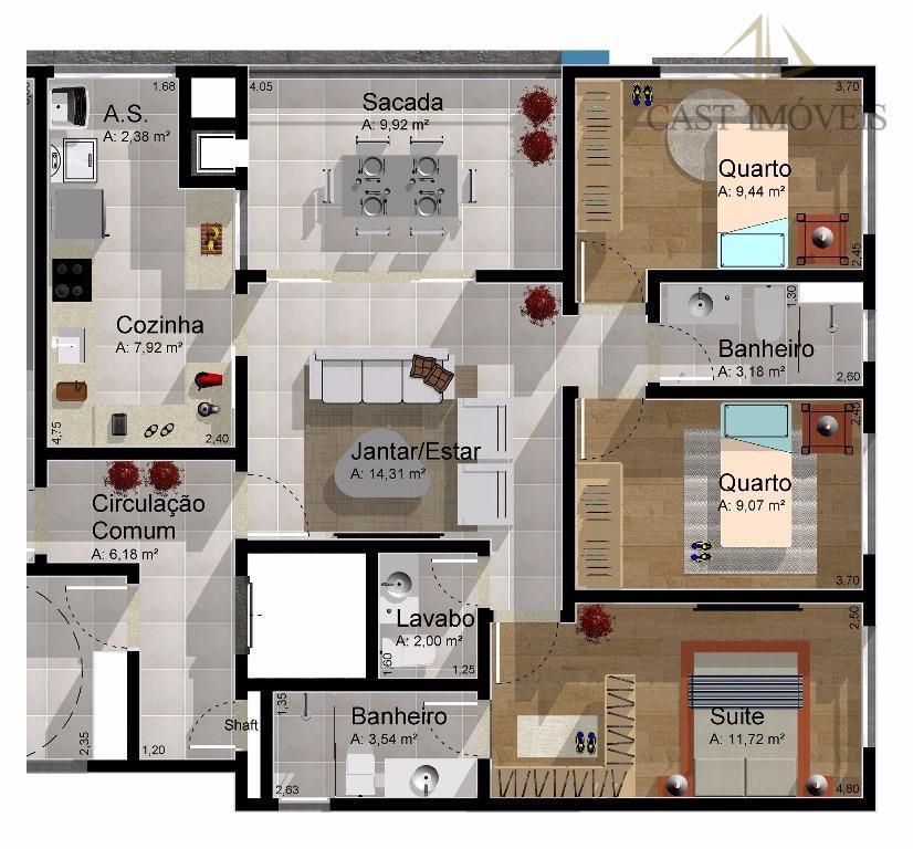 apartamento novo 03 dormitórios, 02 vagas a venda bairro água verde, curitiba, pr.localizado em localização privilegiada...