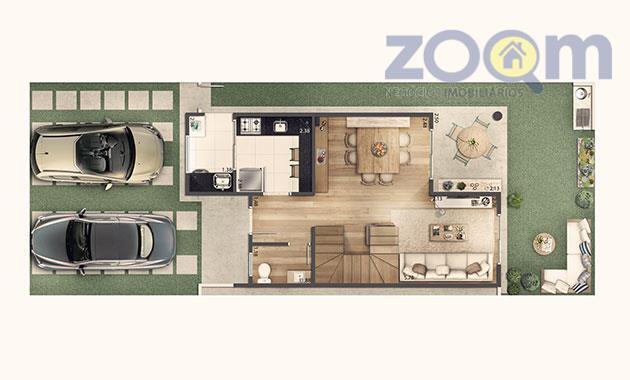 sobrado, 92 m², com 3 dormitórios com suíte e closet.opção de cozinha americana.quintal privativo, 2 vagas...