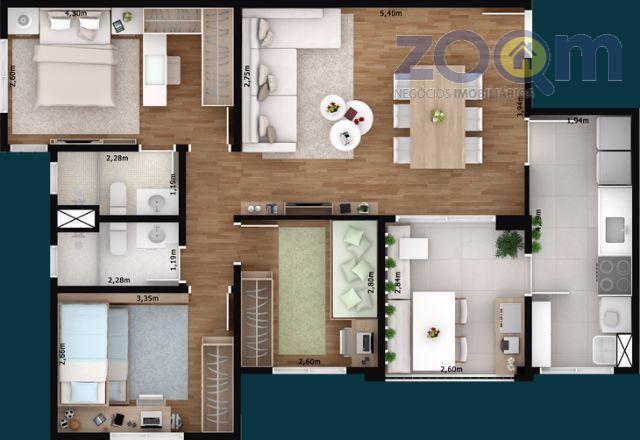 ótimo apartamento com 84m², sala ampla com 3 quartos, sendo 1 suíte, cozinha com gabinete, área...