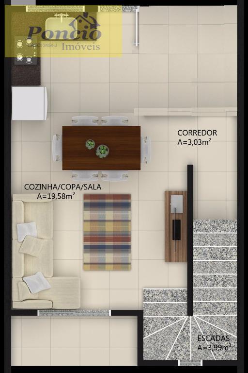 sobrado igual a esse você nunca viu!!!!! com 02 dormitórios, sala de estar e jantar integradas,...