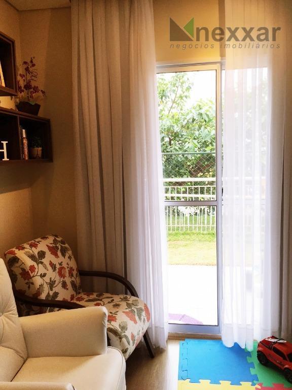 apto em condomínio, térreo tipo garden com 90 metros, 3 dormitórios sendo 1 reversível atualmente está...